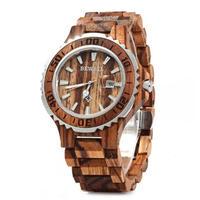 BEWELL 木製腕時計 メンズ クォーツ 50mm 全4カラー ルミナスハンズ