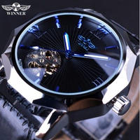 T-WINNER 自動巻 機械式腕時計 スケルトン メンズ スケルトン 革バンド