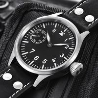 Corgeut メンズ 手巻き腕時計 17石 ノーロゴパイロットウォッチ