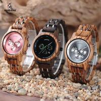 BOBO BIRD 木製腕時計 レディース クォーツ 40mm ローズ/ブラック/シルバー