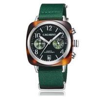 Cagarny クォーツ腕時計 40mm スクエアボディ ユニセックス クロノグラフ