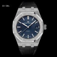 DIDUN DESIGN  メンズ腕時計 黒革 クォーツ レザーストラップ カラバリ12色