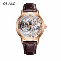 OBLVLO ハリーウィンストン風 メンズ 自動巻腕時計 スケルトン