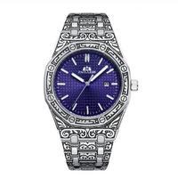 PAULAREIS P クォーツ腕時計 ヴィンテージスタイル ブルー/ブラック/ホワイト