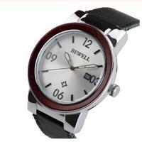 BEWELL メンズ 自動巻腕時計 高級 クラシックデザイン レザーストラップ 木製腕時計
