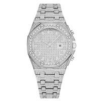 メンズ ダイヤモンド腕時計 ヒップホップファッション シルバー/ゴールド