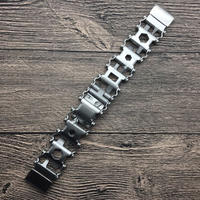 Samsung Gear S3 Galaxy Watch 46mm メタルバンド ステンレス マルチツールストラップ シルバー/ブラック
