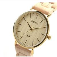 BEWELL 木製腕時計 超薄型 メンズ 日本製クォーツムーブ 41m 全6カラー