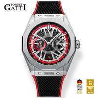 BONEST GATTI メンズ 自動巻腕時計 ラバーストラップモデル 全6カラー