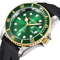 CURDDEN メンズ クォーツ腕時計 ロレックスオマージュモデル シリコンバンド グリーン/ブルー/ブラック