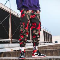 韓国風ストリートジョガーパンツ メンズ レッドカモフラージュ