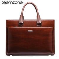 Teemzone メンズ 本革ブリーフケース メッセンジャー ビジネス アタッシュケース  ラップトップ