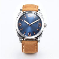 Seagull 機械式腕時計 メンズ ミリタリー ブルー文字盤 レザーストラップ