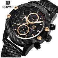 BENYAR メンズ腕時計 クォーツ クロノグラフ カジュアル スポーツ  メッシュ/ラバーバンド 防水