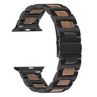 Apple Watch5 4 3 2 1 木製バンド 38mm/40mm/42mm/44mm ブラック/シルバー
