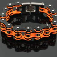 バイクチェーンブレスレット メンズ ブラック/オレンジ