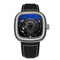 CAROTIF メンズ 自動巻腕時計 スクエアデザイン レザーストラップ 45mm 全6カラー