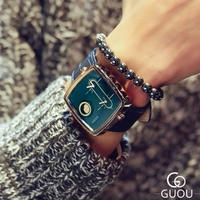 GUOU メンズ クォーツ腕時計 スクエアケース 43mm ブルー/ブラック