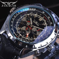 Jaragar メンズ 自動巻腕時計 47mm ブラック レザーストラップ