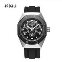 BAOGELA メンズ クォーツ腕時計 スカル スケルトン ブラック/シルバー/ローズブラック