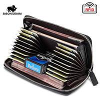 BISON DENIM カードが取り出しやすい長財布 Black/Coffee 牛革 大容量ウォレット 使いやすい財布
