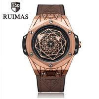 RUIMAS メンズ クォーツ腕時計 48mm ミリタリー スパイダー模様 ブラウン/ブラック レザーバンド