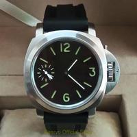 GEERVO 手巻き機械式腕時計 メンズ 44mm ロゴなし ラバーストラップ ルミノールスタイル