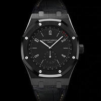 DIDUN DESIGN メンズ クォーツ腕時計 40mm レザーバンド ファッションウォッチ
