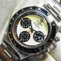 ALPHA アルファ デイトナポールニューマンスタイル アイボリー ブラックベゼル オマージュウォッチ クロノグラフ手巻き腕時計