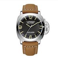 PAULAREIS P 自動巻腕時計 レザーストラップ ルミノールスタイル