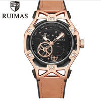 RUIMAS メンズ クォーツ腕時計 46mm レザーバンド ブラウン/ブラックファッションウォッチ