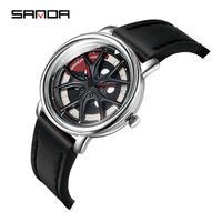 ホイールデザイン腕時計 メンズ 車好き向け レザーストラップ  360°回転
