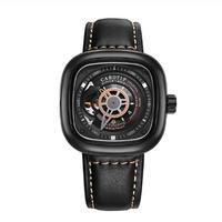 CAROTIF メンズ 自動巻腕時計 スクエアケース レザーストラップ 45mm ブラック/シルバー 全6カラー