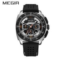 MEGIR メンズ クォーツ腕時計 クロノグラフ ミリタリー カラバリ3色