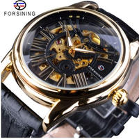 FORSINING 自動巻き スケルトン メンズ機械式腕時計 高級ブランド レザーベルト 現代ローマ風