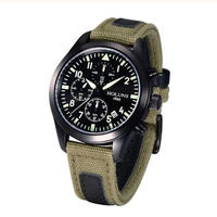 HOLUNS メンズ クォーツ腕時計 ミリタリースタイル
