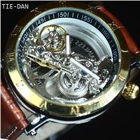 TIEDAN 自動巻き 機械式腕時計 スケルトン トゥールビヨン  メンズ  カラバリ2色