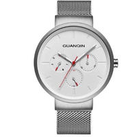 GUANQIN メンズ クォーツ腕時計 41mm 薄型 メッシュストラップ シンプルデザイン