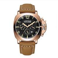 PAULAREIS P 自動巻き腕時計 ブラウンレザーストラップ ルミノールスタイル オマージュウォッチ