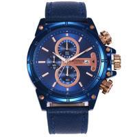 RONMAR メンズ クォーツ腕時計 レザーバンド スポーツ カジュアル