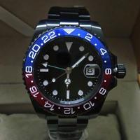 メンズ 自動巻腕時計 40mm ロゴなし GMTマスタースタイル サファイアクリスタル ブラック×ペプシベゼル