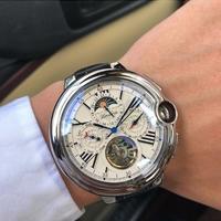 CASENO メンズ 自動巻腕時計 トゥールビヨンスタイル レザーストラップ  スケルトン
