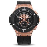 MEGIR ウブロ(HUBLOT)風 クォーツ腕時計 メンズ  クロノグラフ ビッグダイヤル
