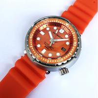 San Martin メンズ 自動巻腕時計 ツナ缶デザイン 48mm 300m防水 NH35ムーブ オレンジ
