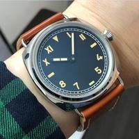 GEERVO 手巻き機械式腕時計 メンズ 47mm  ロゴなし ラジオミールカルフォルニアスタイル