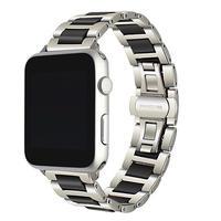 Apple Watch シリーズ5 4 3 2 1 セラミック+ステンレスバンド 38mm/40mm/42mm/44mm ブラックシルバー