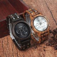 BOBO BIRD ボボバード 木製腕時計 43mm クォーツ ブラック/ベージュ