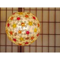 シェルボールランプ  Ф30cm 《 Flower Yellow×Orange×Pink フラワー黄×オレンジ×ピンク 》( テーブル / シーリング )