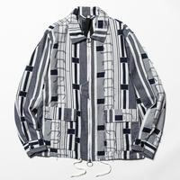 Crazy Woven Drizzler Jacket (Navy Pattern) / [MW-JKT20106]
