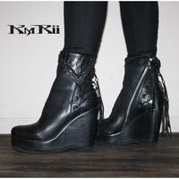 KMRii ・ケムリ・Crush Braided Boots・LADIES BOOTS・ウエッジソール